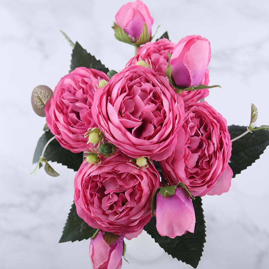 Pink Peony and Rose Home Decor Artificial Flowers Bouquet Artificial & Dried Flowers Home & Garden Color : Purple|Pink|White|Hot Pink|Blue|Pink Mix|Yellow