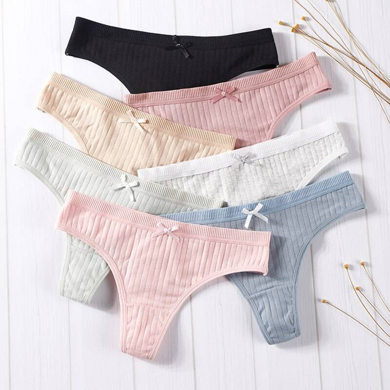Women's Cotton G-Strings with Bow