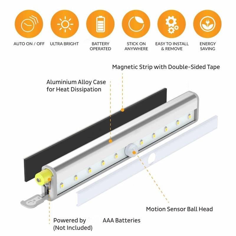 6/10 LEDs PIR LED Motion Sensor Light Home & Garden Lights & Lighting Type : 6 LEDs, Warm White|6 LEDs, Cool White|10 LEDs, Warm White|10 LEDs, Cool White
