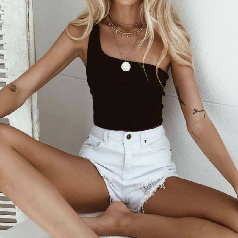 One Shoulder Styled Crop Top Camis & Tops Tops & Tees Women's Clothing & Accessories Color : Black|Green|Orange|Red|White
