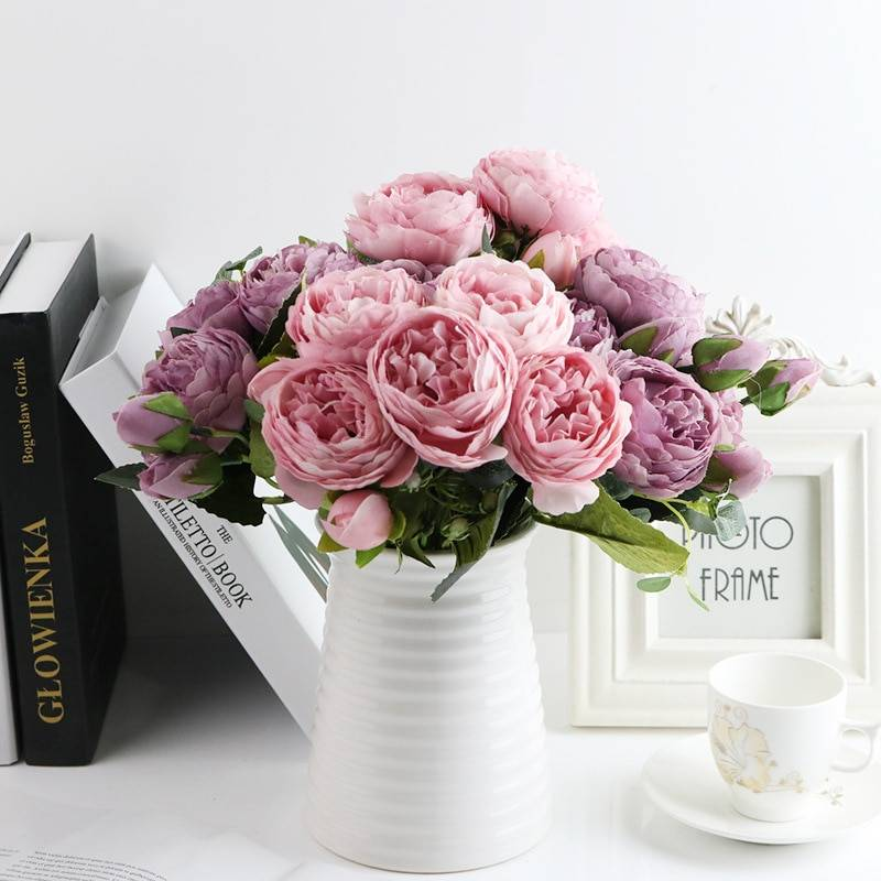 Silk Peony Flowers Bouquet Set 5 Pcs