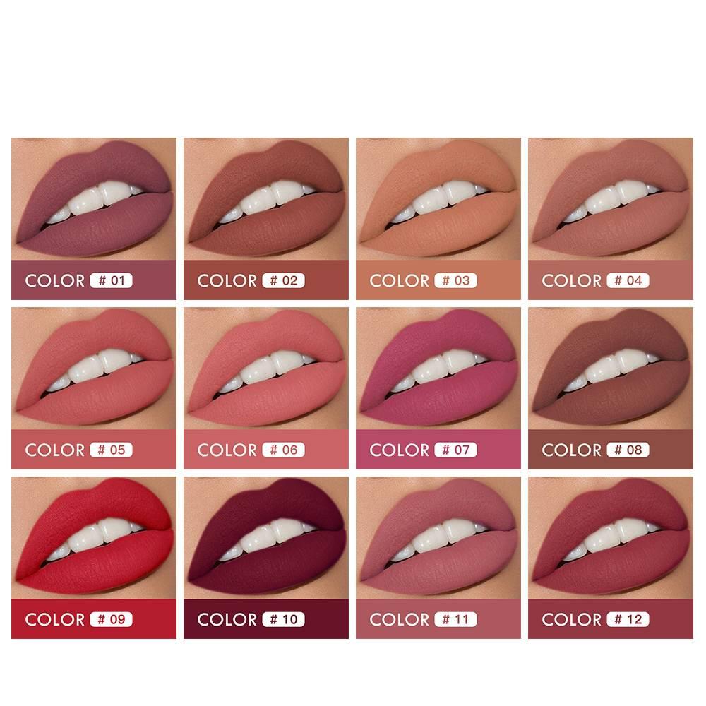 Women's Matte Lipstick Beauty & Health Lips Makeup Color : 1|2|3|4|5|6|7|8|9|10|11|12