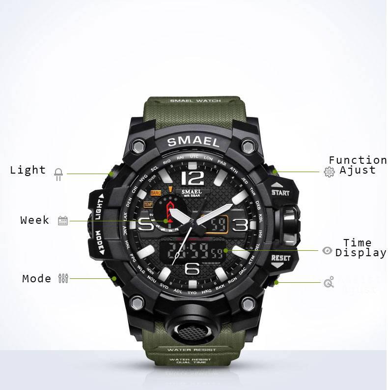 Men's Military 50m Waterproof LED Quartz Watch
