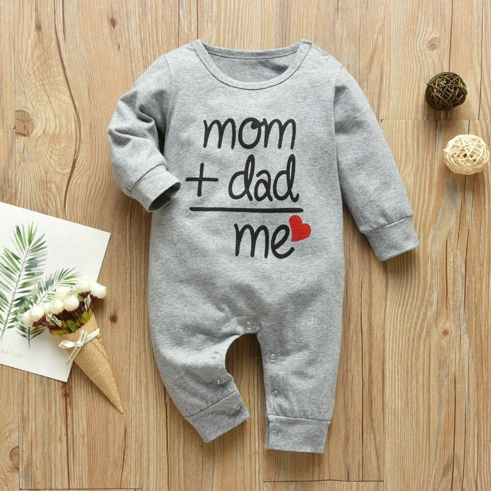 Mom+Dad=Me Baby's Gray Cotton Romper
