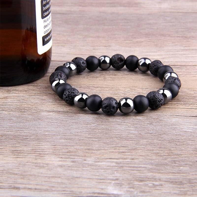 Men's Natural Black Obsidian Beads Bracelet