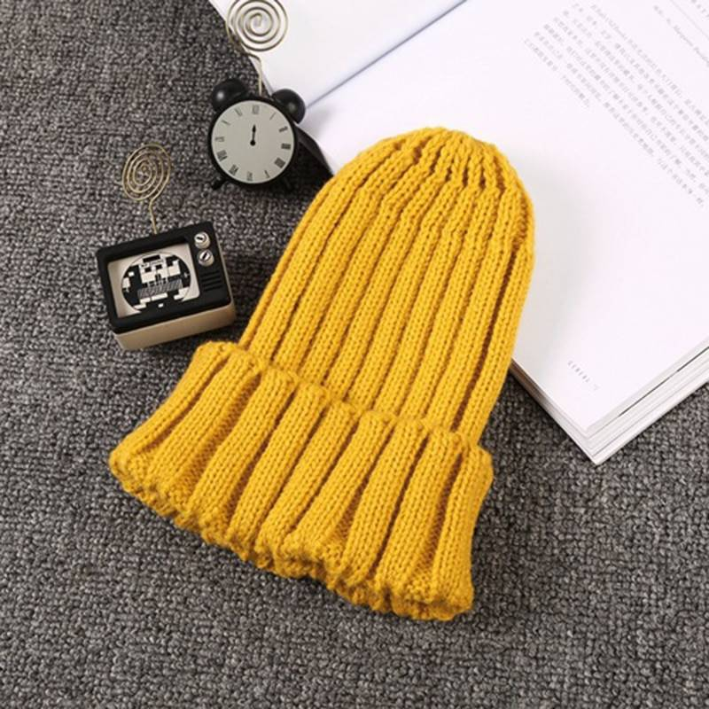 Girl's Knitted Solid Color Beanie Hat