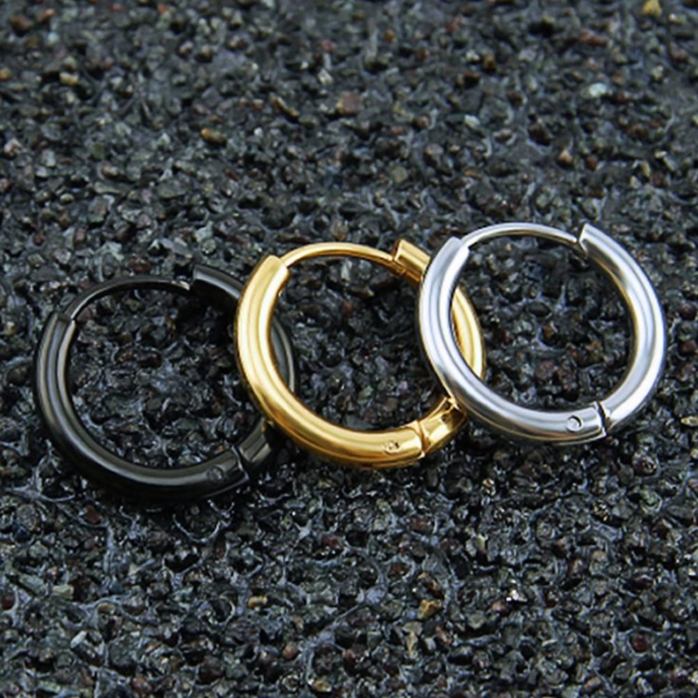 Punk Style Men's Earrings Earrings Men Jewelry Color : Gold Black Silver
