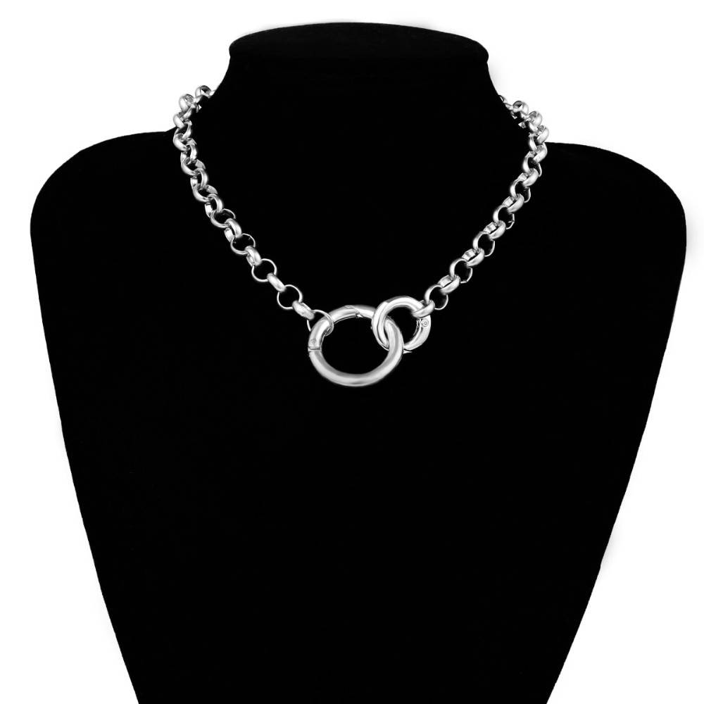 Choker Necklaces with Circle Shaped Pendants Necklaces Women Jewelry Metal Color : Gold Silver