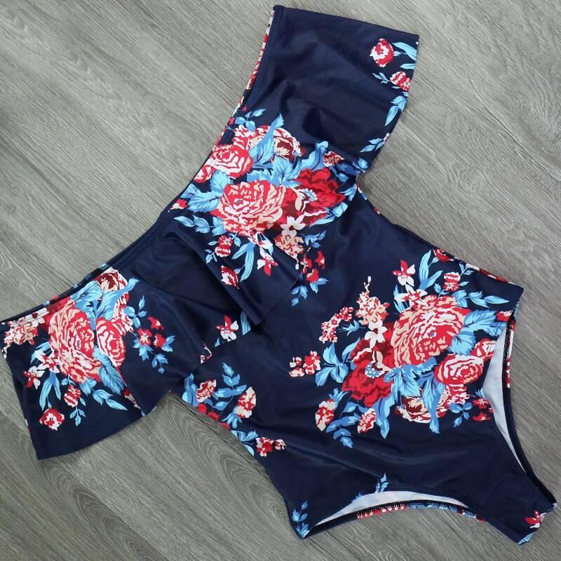 Women's Off Shoulder Solid Swimsuit