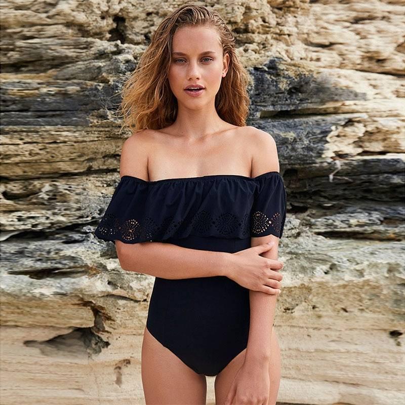 Women's Off Shoulder Solid Swimsuit One-Piece Swimsuits Sports Women Swimwear Color : 1|2|3|4|5|6|7|8|9|10|11|12|13|14|15|16|17