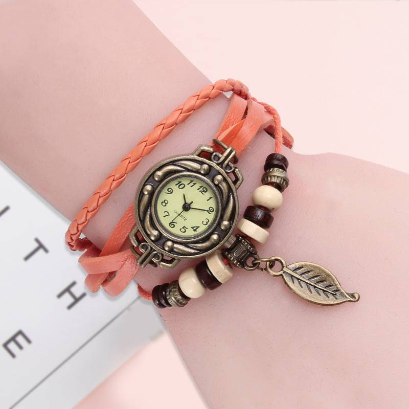 Vintage Dress Watch with Genuine Leather Bracelet Watches Women's Watches Color : Brown|Red|White|Blue|Green|Black|Orange