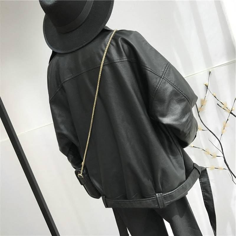 Women's Black PU Leather Loose Jacket