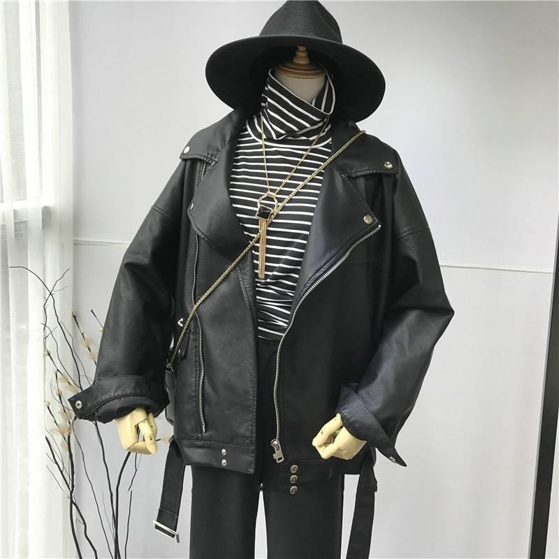 Women's Black PU Leather Loose Jacket Coats Jackets & Coats Women's Clothing & Accessories Color : Black