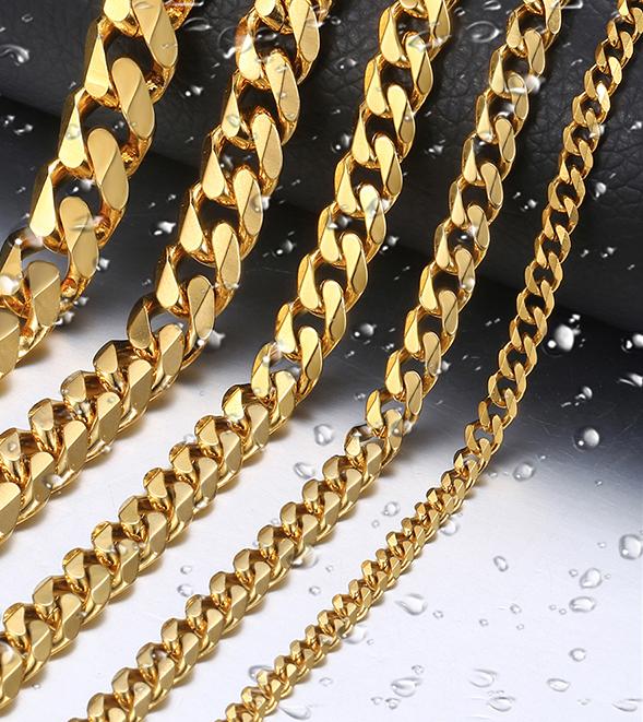 Luxury Men's Chain Necklace Men Jewelry Necklaces Color : Silver  Black  Gold