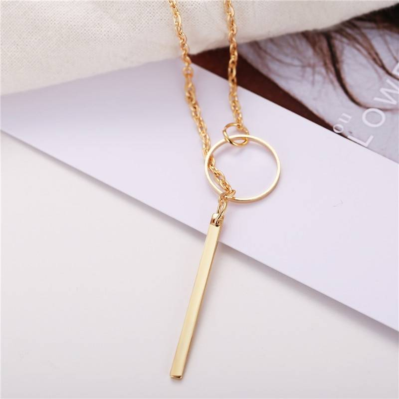 Geometric Shaped Pendant Necklace Necklaces Women Jewelry Color : Gold|Silver