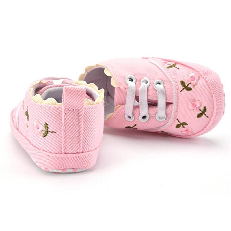 Girls' Cute Floral Cotton Sneakers Baby & Kid's Shoes Baby Girl's Shoes Sneakers Color : Pink White