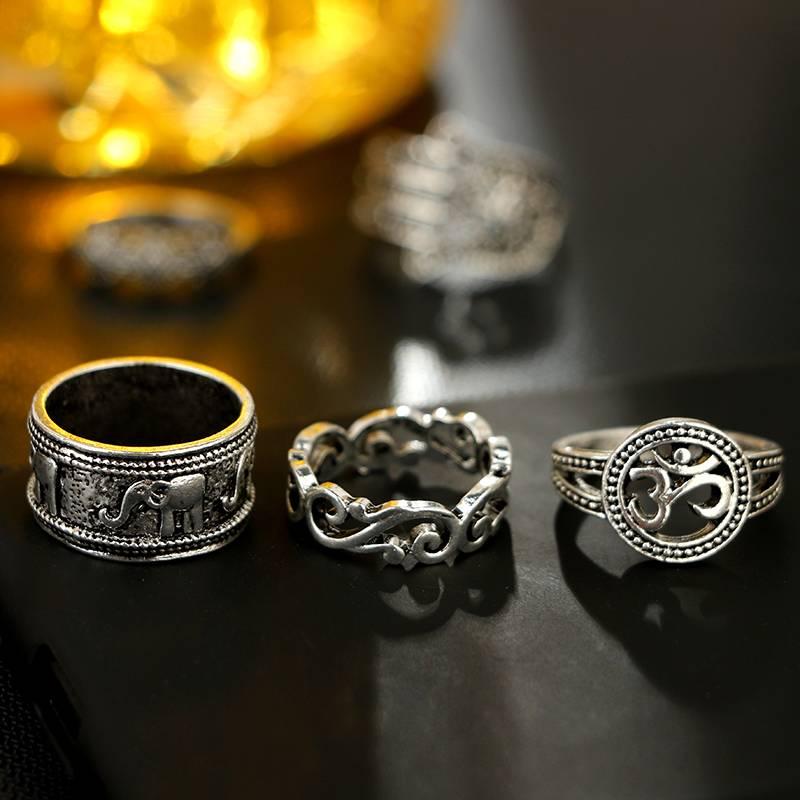 Women's Boho Ring 9 pcs Set Rings Women Jewelry Color : Silver