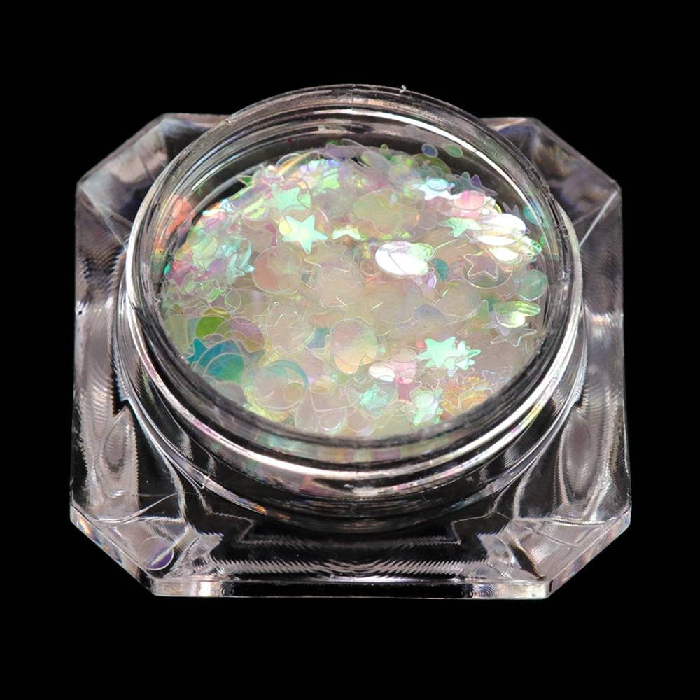 Holographic Flakes Nail Glitter Set Acrylic Powders & Liquids Beauty & Health Nail Tools Color : Holographic White