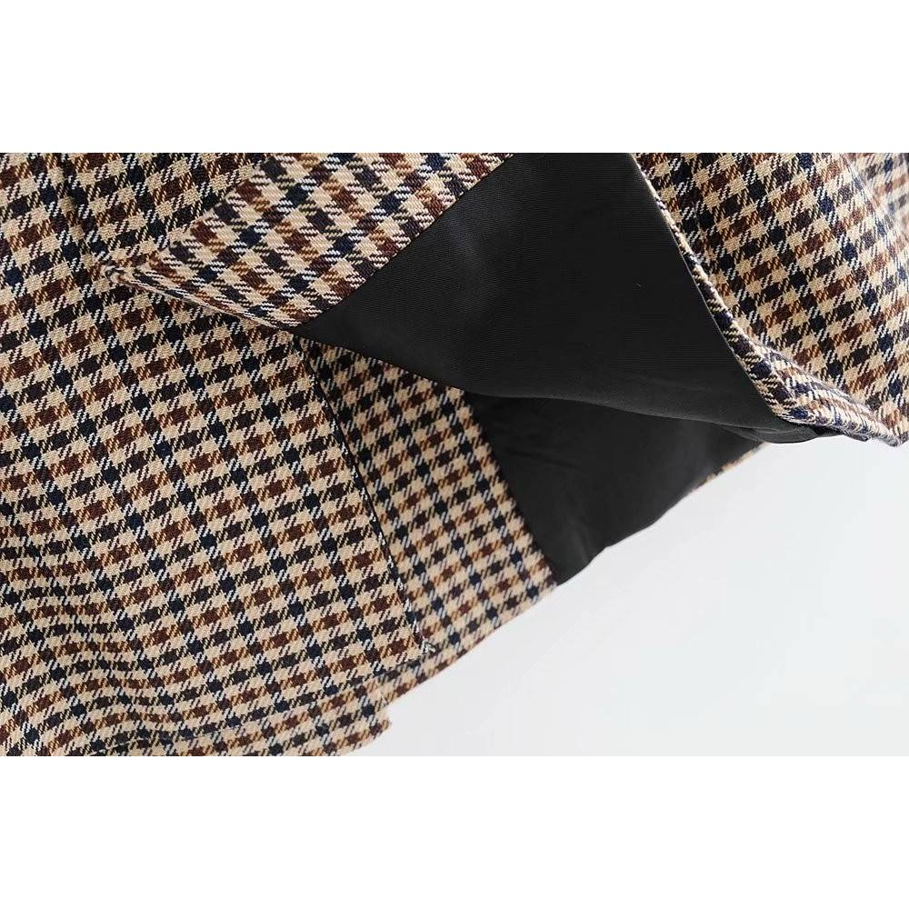 Brown Women's Jacket in Plaid Print Basic Jackets Jackets & Coats Women's Clothing & Accessories Color : Brown