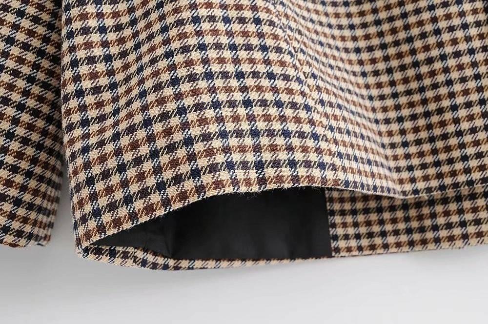 Brown Women's Jacket in Plaid Print