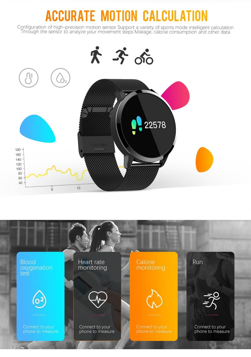Smart Watch with Health Monitor Smart Electronics Smart Watches Color : Silver Steel Black Leather Black Steel Pink Steel Black Leather Gold Steel