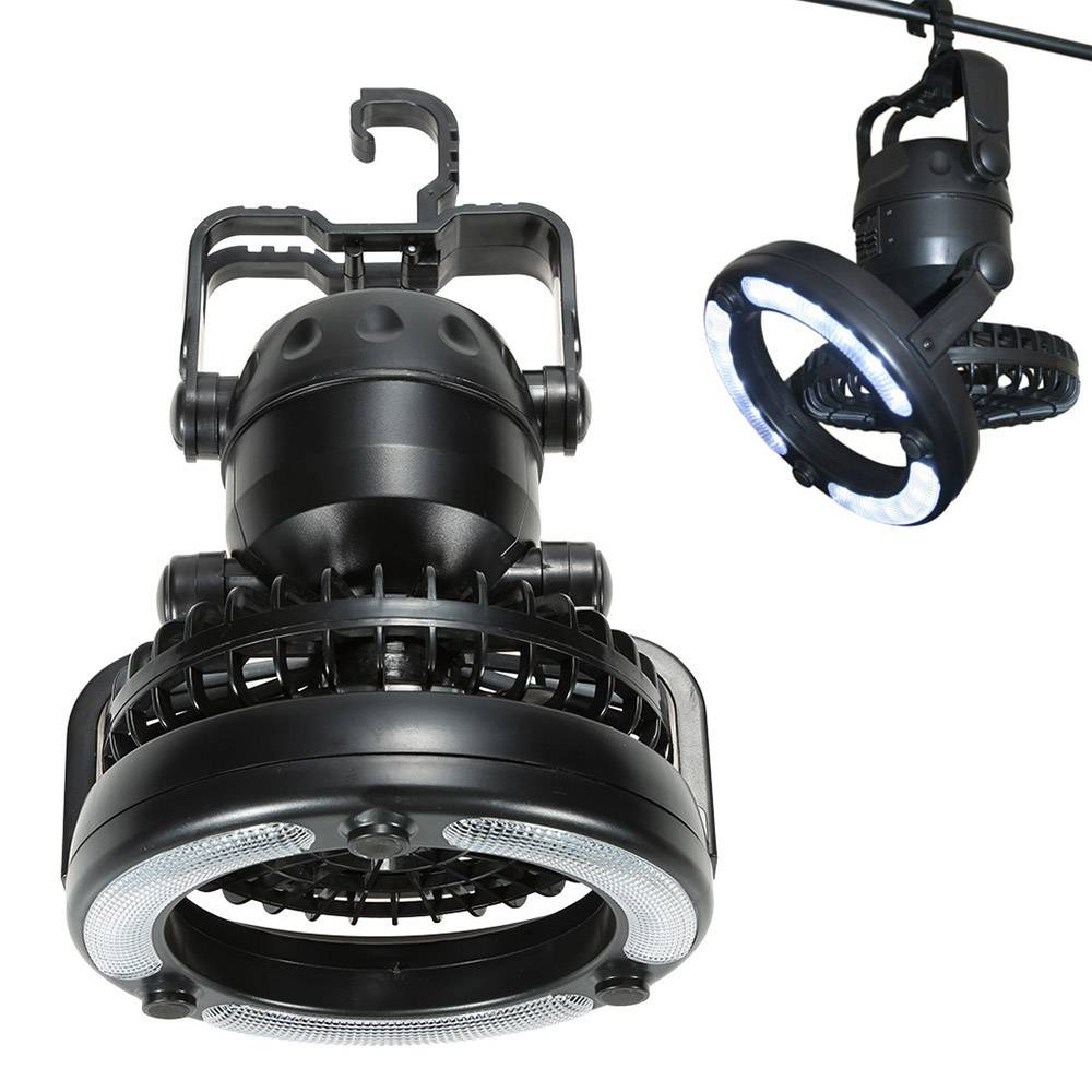 Multifunctional LED Lantern With Fan Travel & Outdoor Color : Black