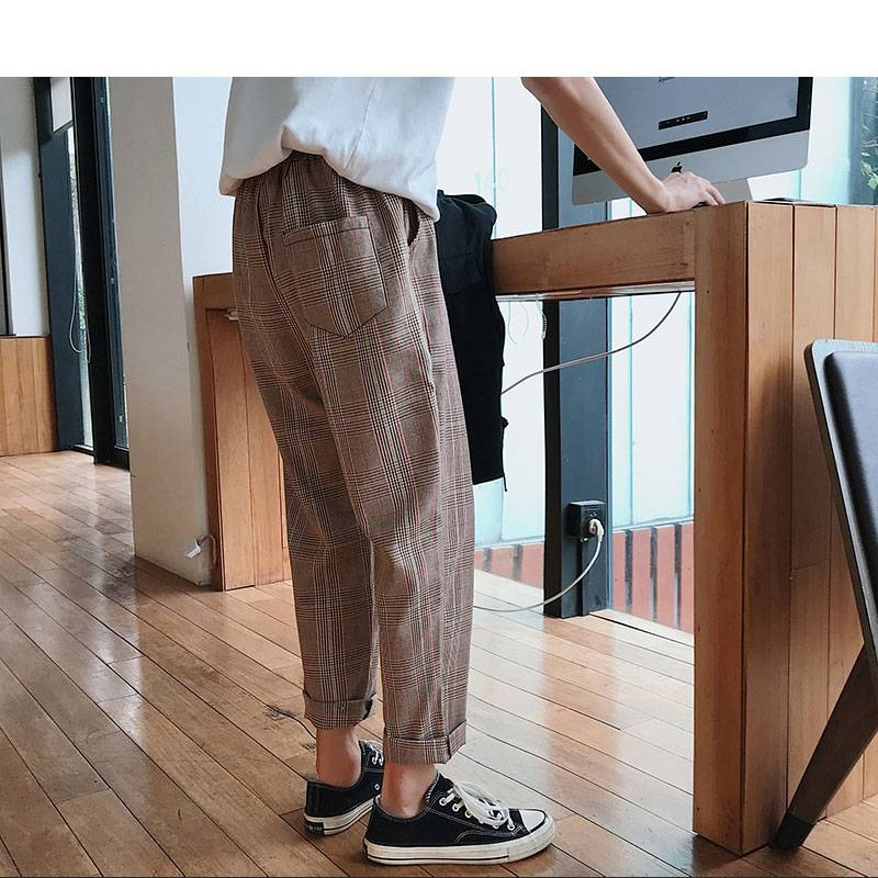 Streetwear Casual Plaid Joggers Apparel Color : Gray/Black|Yellow|Brown|Beige|Gray