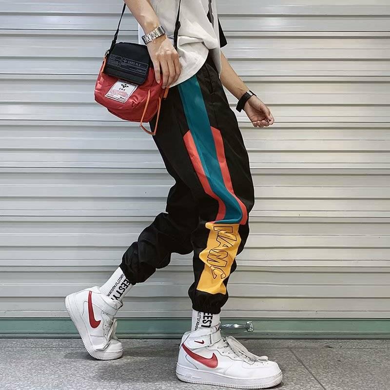 Street Fashion Men Pants Apparel Color : Black|White