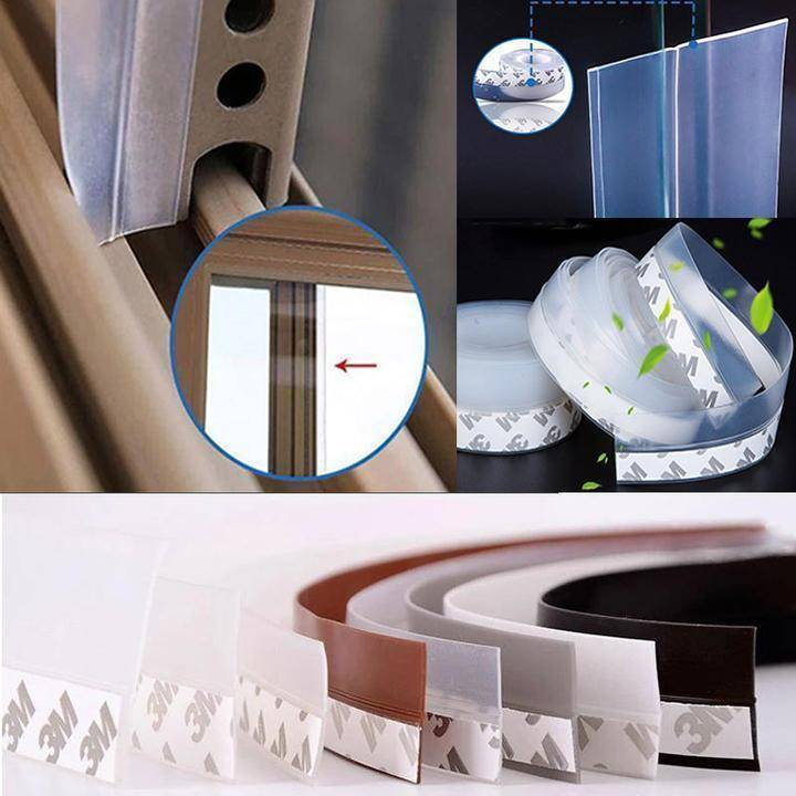 Weather Stripping Door Seal Strip Home Goods Color : Translucent|White|Gray|Brown|Black