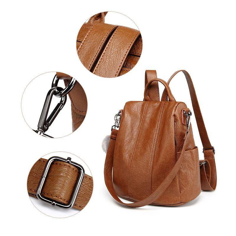 Anti-Theft Multifunction Leather Backpack Backpacks & Bags Color : Black|Brown