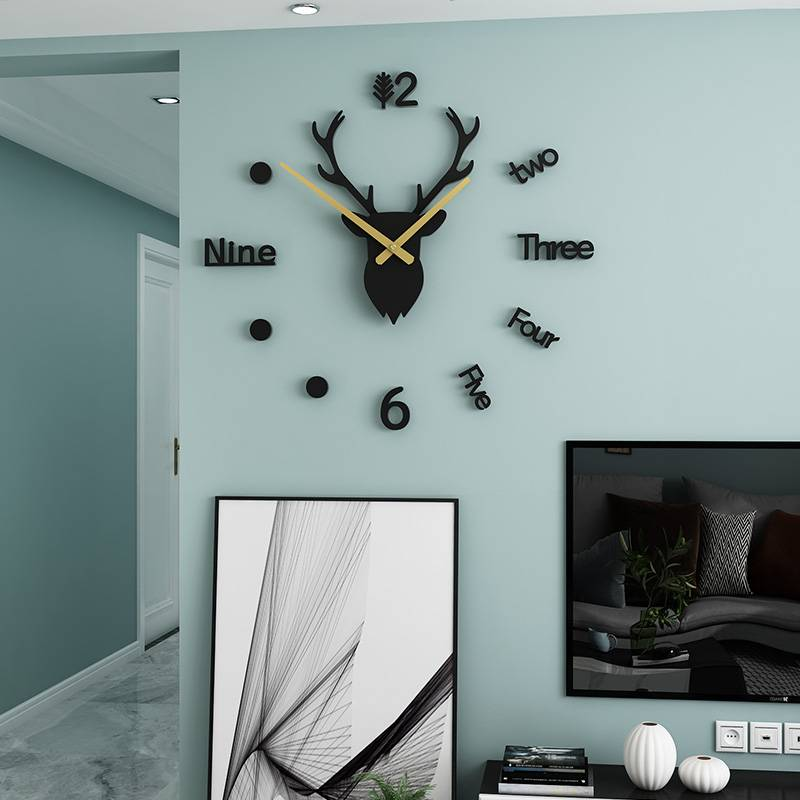 Deer Nordic Style Wall Clock Home Goods Color : Black