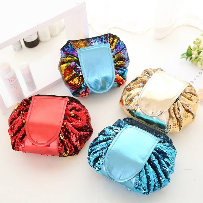 Sequin Make Up Cosmetics Bag Accessories Color : Blue|Gold|Multi|Red