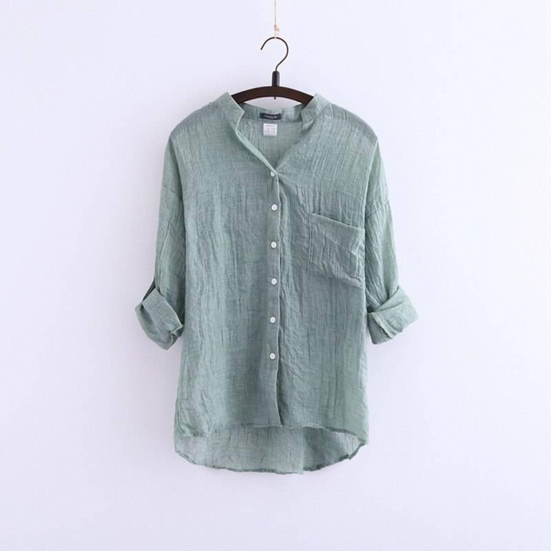 Light And Breathable Sun Resistant Linen Shirt Apparel Color : Dark Blue|White|Green|Khaki|Blue