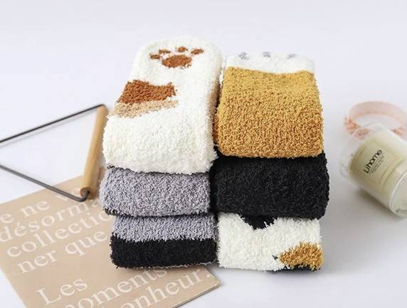 Cute Cat Claw Plush Warm Socks Accessories Color : Black and Grey|Light Grey|Black and Brown|Light Brown |Black|Camel