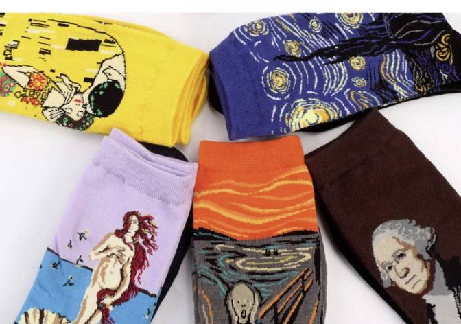 Casual Famous Painting Cotton Socks Accessories Design : Style 1|Style 2|Style 3|Style 4|Style 5|Style 6|Style 7|Style 8|Style 9|Style 10|Style 11|Style 12|Style 13|Style 14|Style 15|Style 16|Style 17|Style 18
