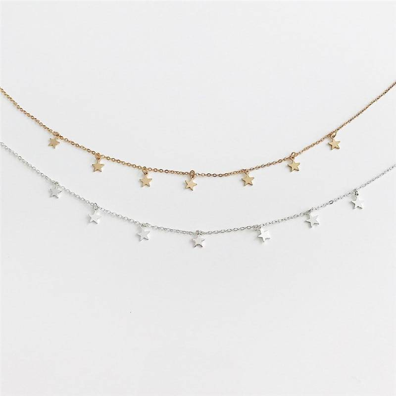 Star Decorated Choker for Girls Accessories Apparel Backpacks & Bags Best Sellers Consumer Electronics Home Goods Jewelry Phone Accessories Toys Travel & Outdoor Vehicles & Parts Color : Silver|Gold